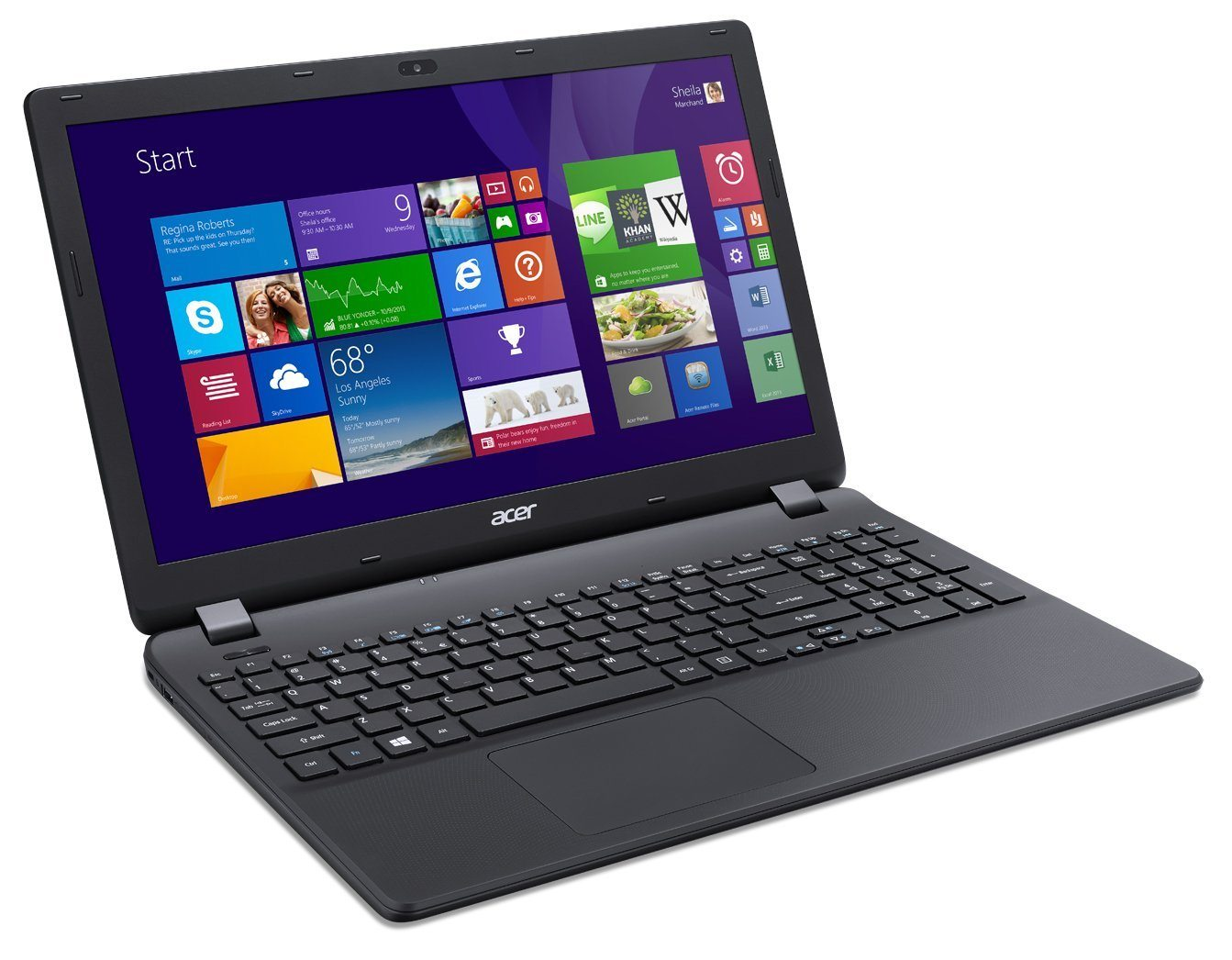 "Acer Aspire ES1-512-P8VK - Portátil de 15.6"" (Intel Pentium N3540, 4 GB de RAM, 500 GB, Intel HD Graphics, Windows 8.1), negro -Teclado QWERTY Italiano (importado)"
