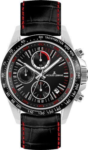 Jacques Lemans 1-1327A - Reloj cronógrafo de cuarzo para hombre, correa de cuero multicolor