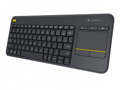 Logitech K400 Plus - Teclado inalámbrico con TouchPad (QWERTY Español) color negro