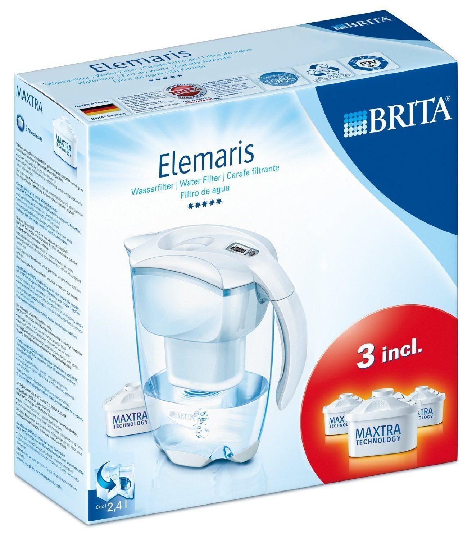 Brita 106755 - Jarra Elemaris LTI, color blanco y 3 filtros incluidos