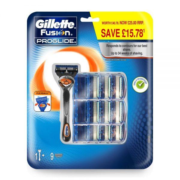 Gillette Fusion Proglide - Maquinilla de afeitar para hombre, con 9 cabezales intercambiables