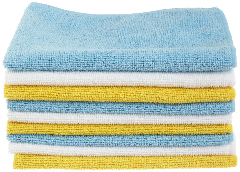 AmazonBasics - Bayeta de microfibra (48 unidades), color blanco, azul y amarillo