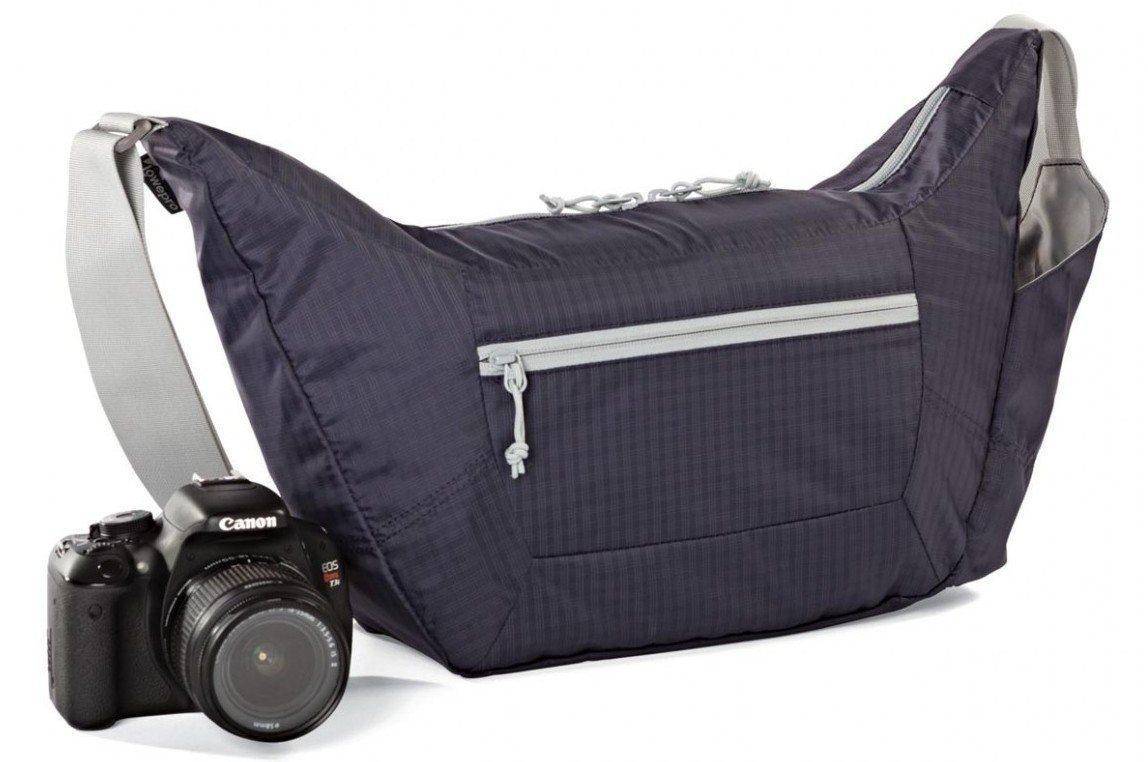 Lowepro Photo Sport Shoulder 12L - Bolsa para cámaras, diseño deportivo, morado y gris