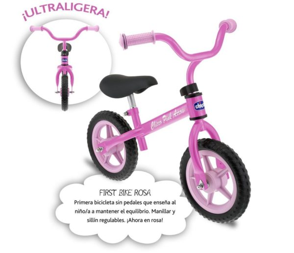 Chicco First Bike - Bicicleta sin pedales rosa