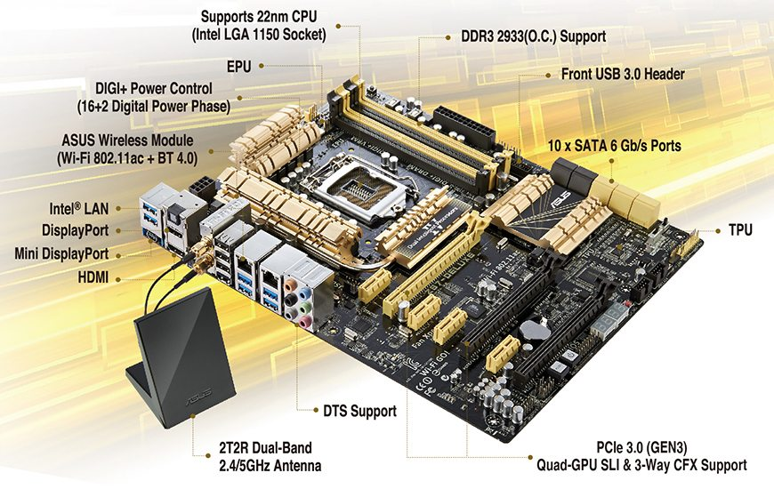 ASUS Z87-DELUXE Placa base 1150 Socket 4x DDR3 Max 32 GB ATX Intel Z87 PCI-E 1x HDMI DisplayPort Mini
