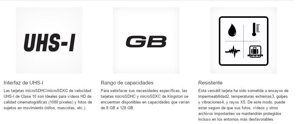 microSD de 32GB (clase 10 UHS-I 45MBs) con adaptador SD kingston oferta ganga chollo especificaciones