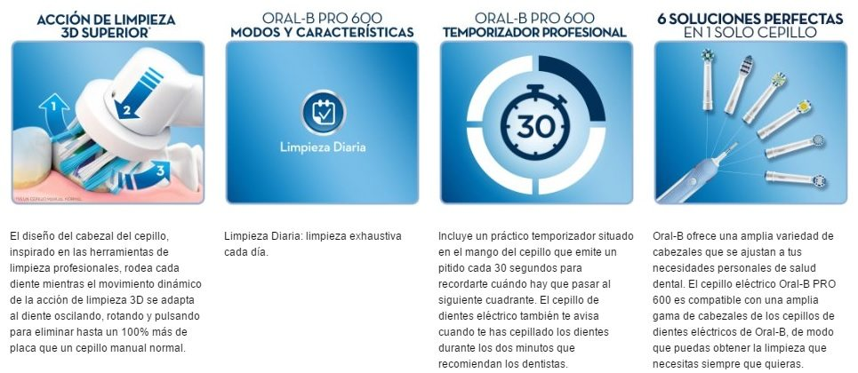 Oral-B PRO 600 CrossAction cepillo caracteristicas