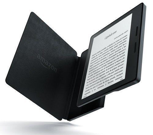 Nuevo Kindle Oasis con funda de carga de cuero negra