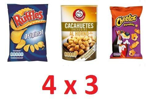 4x3 en una selección de aperitivos y refrescos