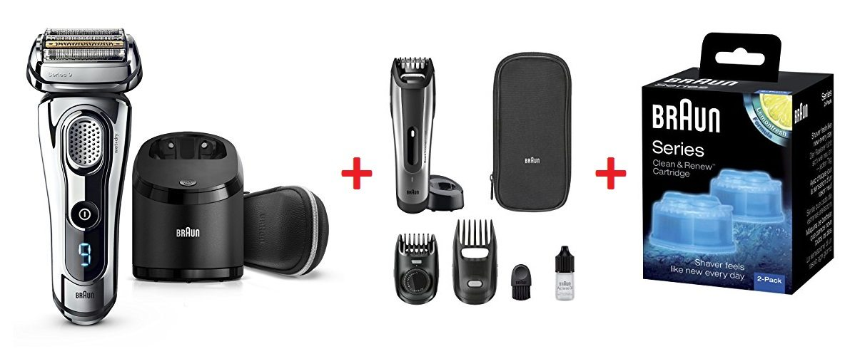 Compra una afeitadora de la nueva serie 9 de Braun y llévate una recortadora de barba Braun + 2 recambios de limpieza Clean&Charge de regalo