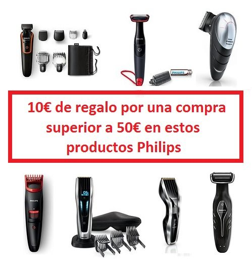10€ de regalo por una compra superior a 50€ en estos productos Philips