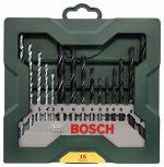 Bosch Mini X-Line - Paquete de 15 brocas para madera, piedra y metal