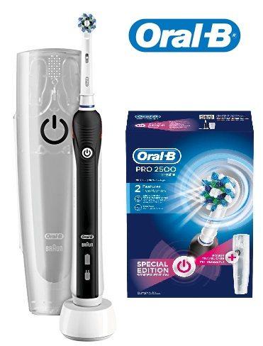 Oral-B PRO 2500 CrossAction - Cepillo eléctrico recargable, pack regalo edición Black
