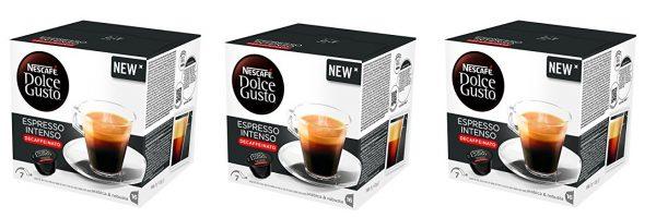 Nescafé Dolce Gusto - Espresso Intenso Descafeinado - 3 Paquetes de 16 Cápsulas