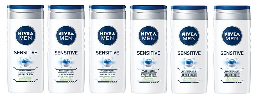 Nivea Men Sensitive - Gel de ducha, paquete de 6
