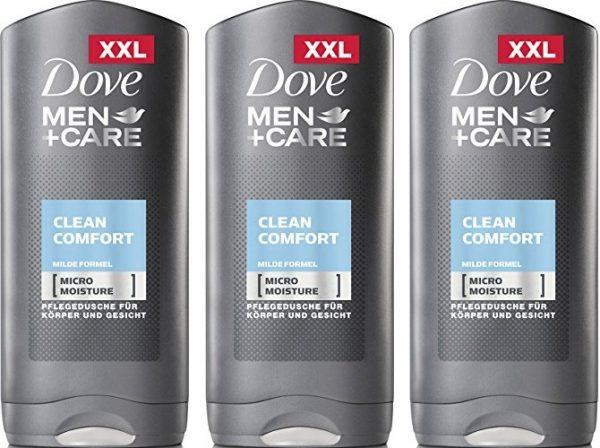 Pack de 3 x 400ml Gel de ducha Dove Men Clean Comfort