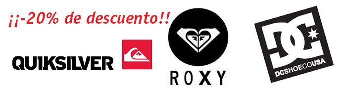 ¡-20% de descuento! en productos Quicksilver, Roxy y DC Shoes.