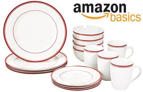AmazonBasics - Vajilla para 4 personas (16 piezas)
