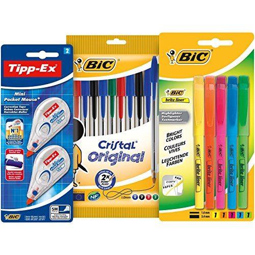 BIC 10 bolígrafos de colores, 5 marcadores y 2 correctores