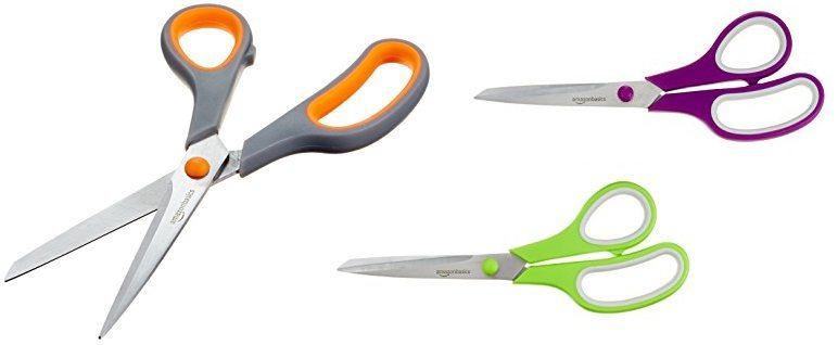 AmazonBasics - Tijeras con mango suave y cuchilla de titanio (20 cm, pack de 3)