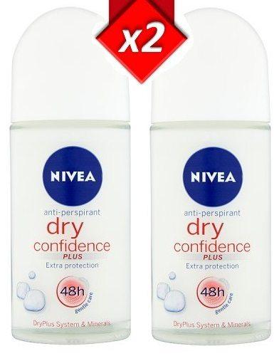 Pack de 2 desodorantes NIVEA Dry Confidence Plus roll-on