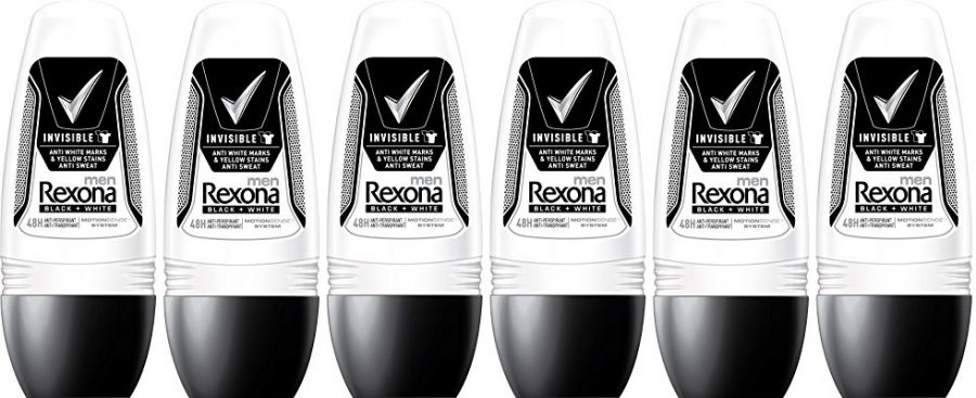 Pack de 6 desodorante Rexona Men Invisible Black+White en roll-on