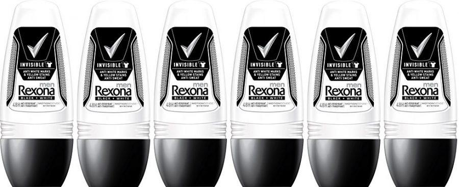 Pack de 6 desodorante Rexona Men Invisible Black+White en roll-on