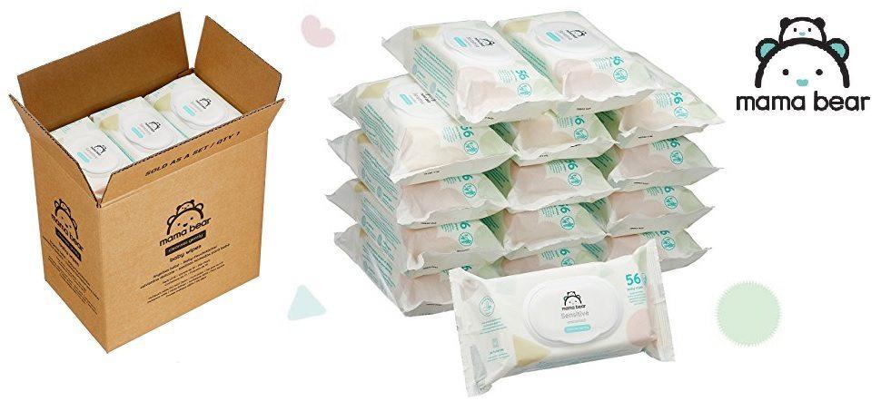 Pack Toallitas húmedas Mama Bear Sensitive para bebé - 15 Paquetes (840 toallitas)