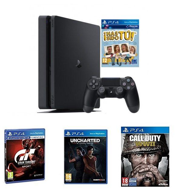 PlayStation 4 (PS4) de 500 GB + Voucher ¡Has Sido Tú! + Call Of Duty WWII + Gran Turismo Sport + Uncharted: El Legado Perdido