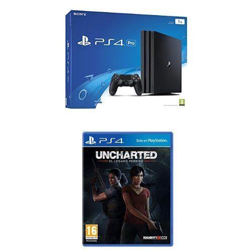 PlayStation 4 Pro (PS4) - Consola, Color Negro + Uncharted: El Legado Perdido