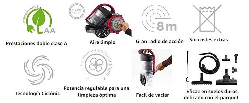 Polti Forzaspira C110_Plus - Aspirador ciclónico sin bolsa