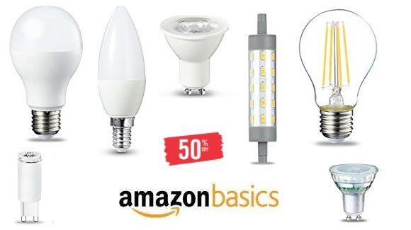 Hasta un 50% de descuento en bombillas LED de AmazonBasics