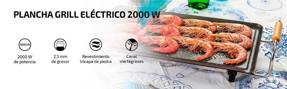 Características Plancha grill eléctrica Cecotec de 2000W