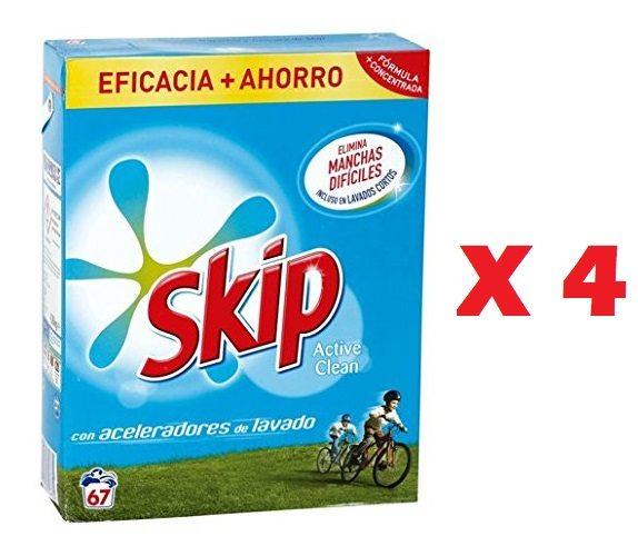 Pack de 4 Detergente Skip Active Clean en polvo