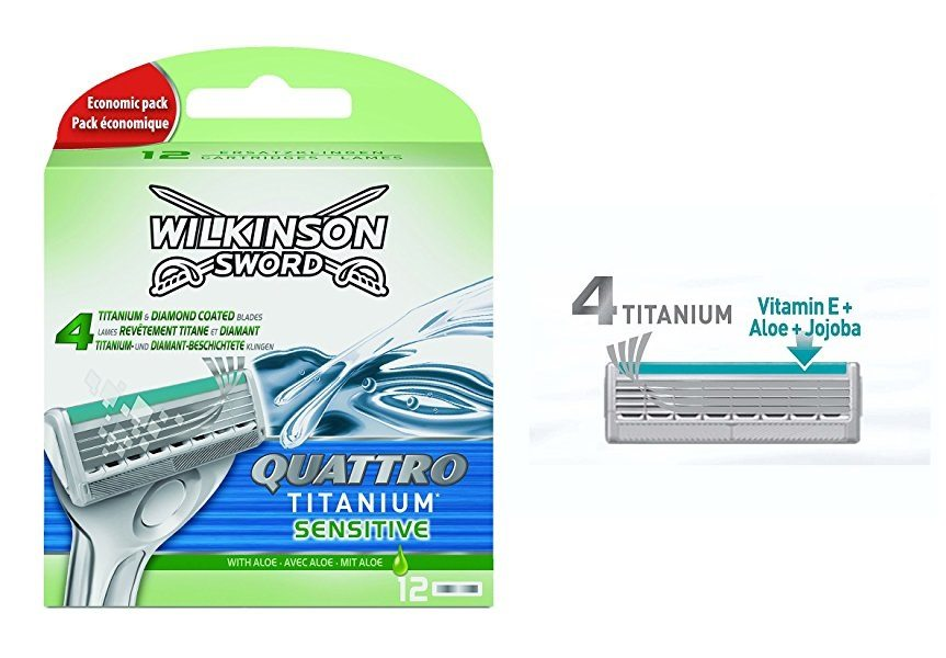 Pack de 12 cuchillas Wilkinson sword quattro titanium Sensitive