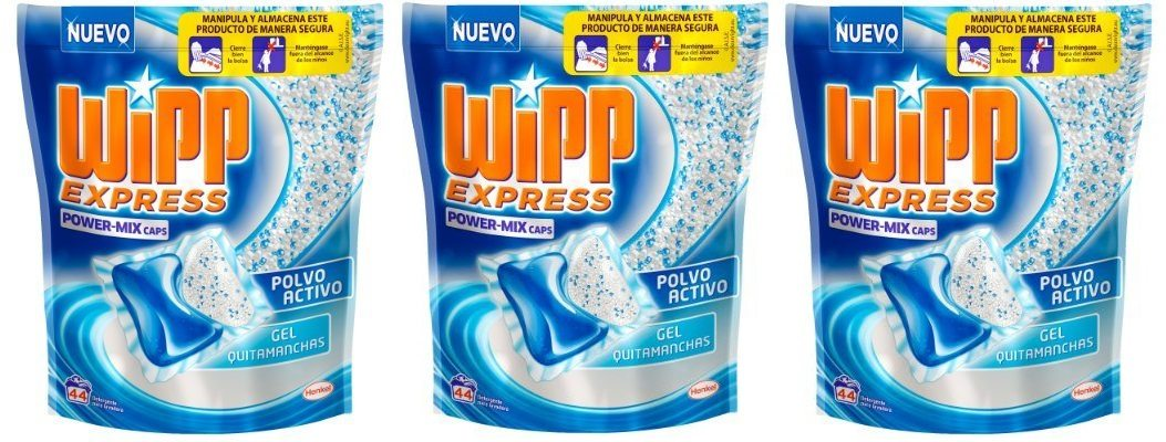 Wipp Express Power-Mix - Detergente con Polvo Activo y Gel Quitamancha