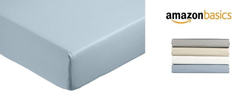 AmazonBasics - Sábana bajera ajustable (algodón satén 400 hilos, antiarrugas)
