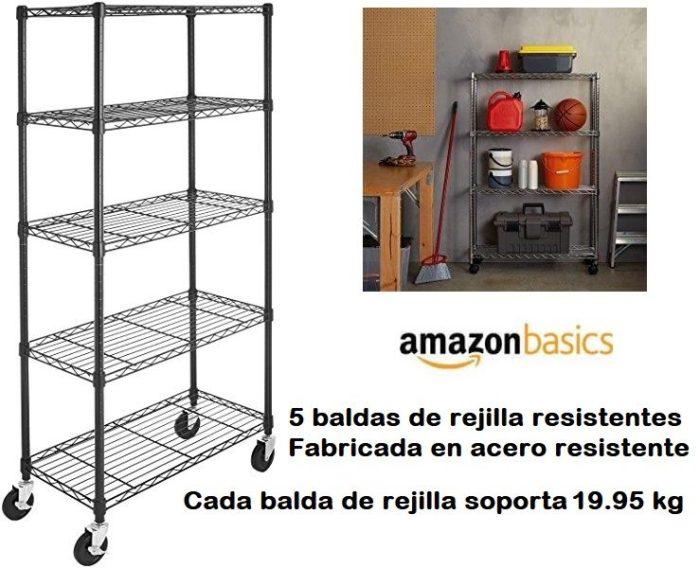 Estantería AmazonBasics de acero con 5 baldas y ruedas