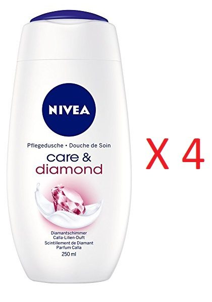 ¡Pack de 4! Gel de ducha NIVEA Care & Diamond