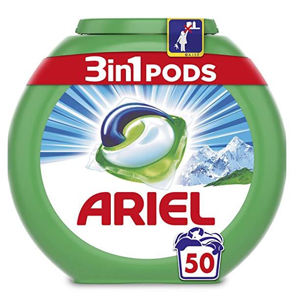 Ariel 3 en 1 Pods Alpine Detergente en Cápsulas - 50 Lavados