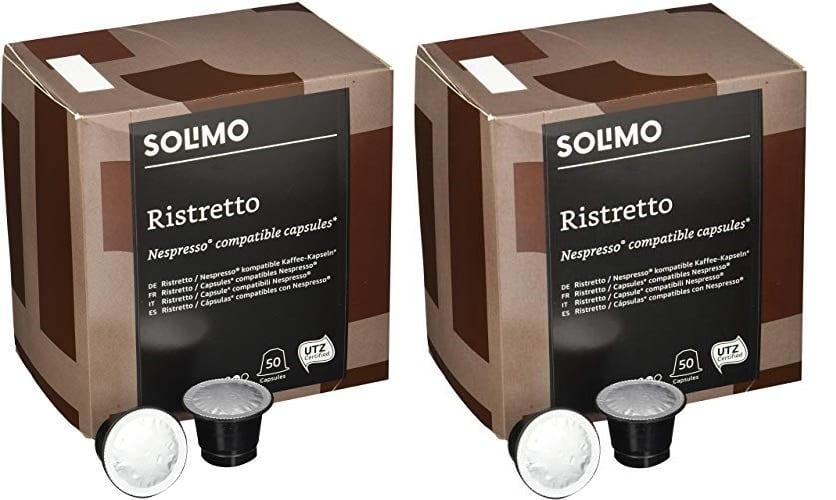 100 Cápsulas compatibles con Nespresso Solimo Ristretto