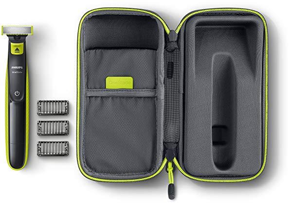 Philips OneBlade - Pack de recortador de barba recargable y estuche de viaje