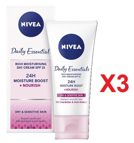 Pack de 3 Nivea Daily Essentials Crema de día hidratante