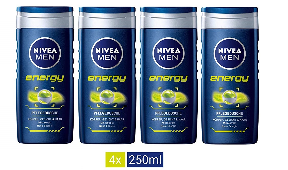 Nivea men - Energy, cuidado de ducha, pack de 4