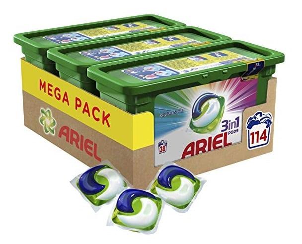 Pack de 3 cajas Ariel 3en1 PODS detergente en cápsulas para 114 lavados