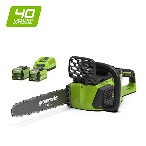 Greenworks Motosierra inalámbrica de 40cm y 40V Li-Ion con 2 baterías de 2Ah y cargador