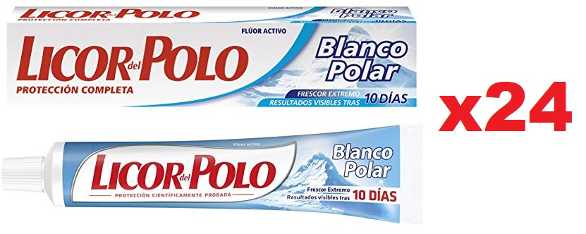 Pack de 24 LICOR DEL POLO pasta de dientes blanco polar tubo 75 ml