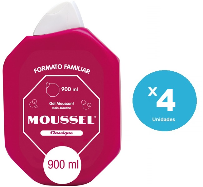 Pack de 4 Moussel Gel de Ducha Clasico de 900ml
