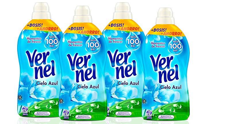 Pack de 4 Suavizante Vernel Cielo Azul concentrado 57 lavados