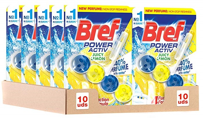 Pack de 10 Bref Power Activ Limón Cesta Higiénica para WC